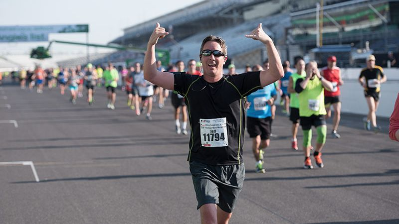 The author makes his way to the start/finish line at the Indianapolis Motor Speedway.