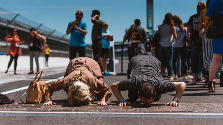 Kissing the Bricks at the Indianapolis Motor Speedway