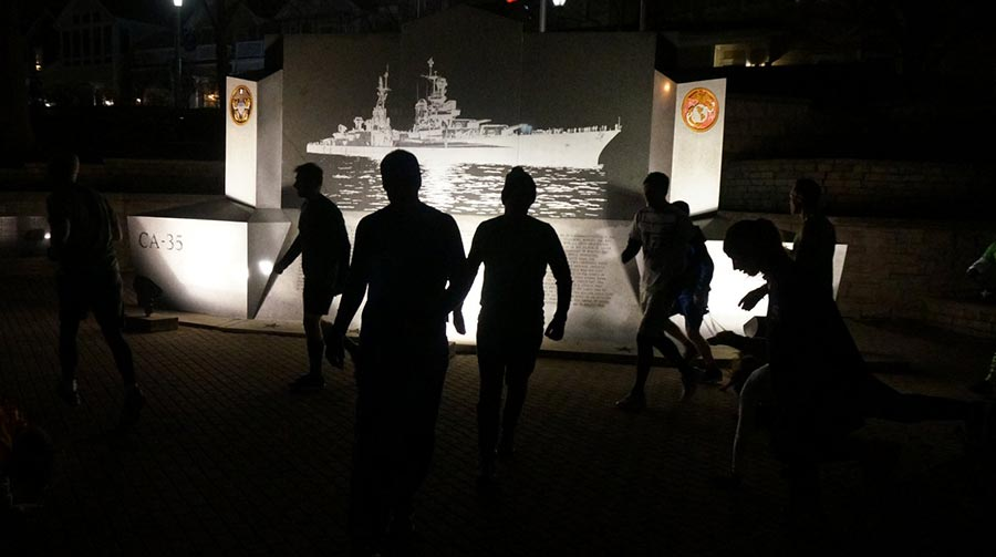 Circuits in front of the USS Indianapolis Memorial