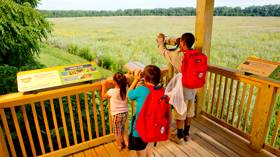 Children looking over the fields at Conner Prairie