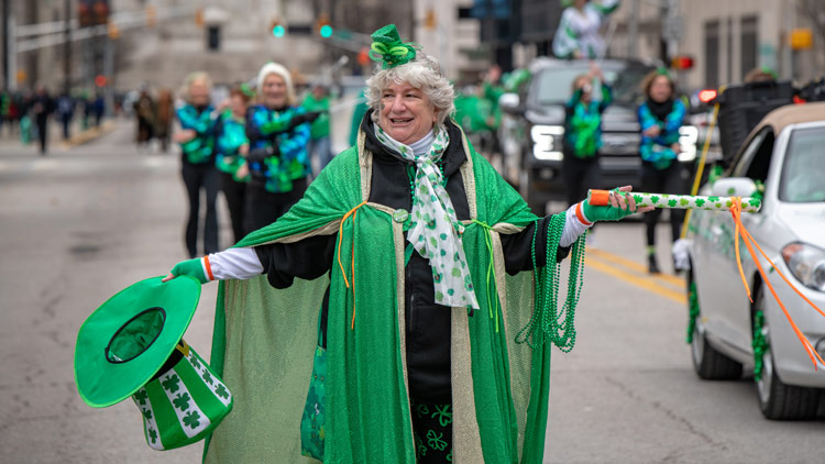 Women Dressed in Green for the St. Patrick's Day Parade