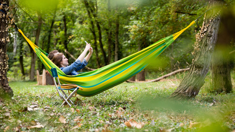 Hammock outdoors in the woods