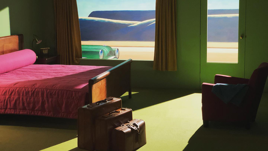 A painting of a hotel room
