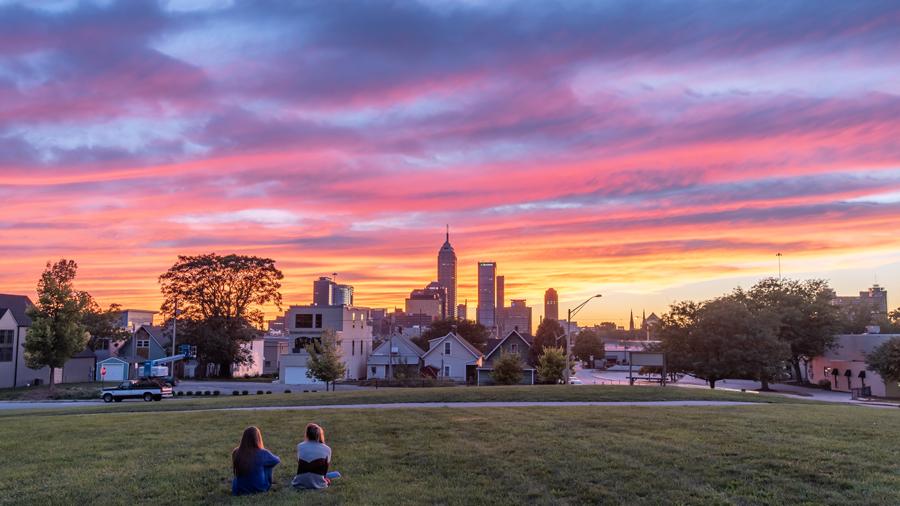 Sunset with city skyline