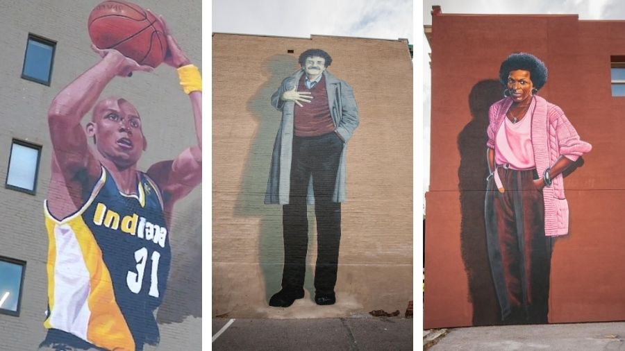 Mass Ave Murals: Reggie Miller, Kurt Vonnegut, Mari Evans