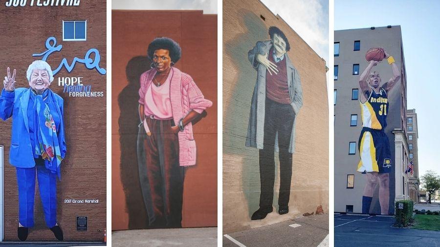 Mass Ave Murals: Eva Mozes Kor, Mari Evans, Kurt Vonnegut, Reggie Miller